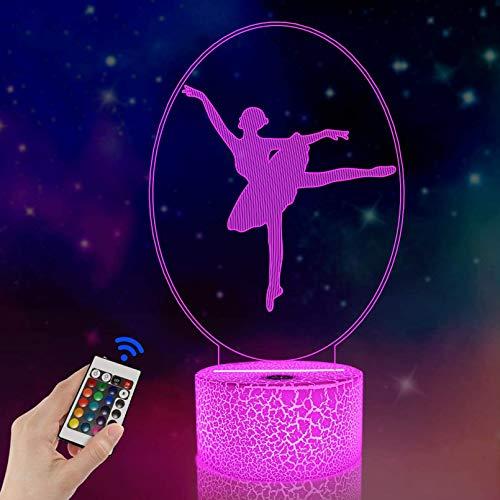 Ballett-Tanz-Geschenke, 3D-Illusionslampe, LED-Nachtlicht mit 16-Farben-Fernbedienung, Geschenke für Mutter Geburtstag Hochzeit Großmutter Valentinstag Freundschaftsgeschenke