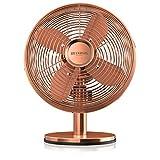 Brandson - Ventilatore da Tavolo Rame Design retró - 25cm Diametro con 3 Livelli di velocità - Oscillazione di 80 Gradi - Inclinazione Regolabile di Circa 40 Gradi - 30W - Rame