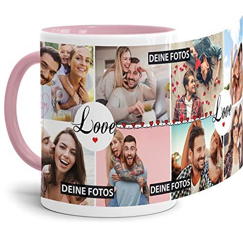 Tasse mit Spruch Love zum SELBSTGESTALTEN mit Foto-Collage für 8 WUNSCHFOTOS - Fototasse personalisiert - Persönliche Geschenkidee für Freunde und Familie - Innen & Henkel Rosa