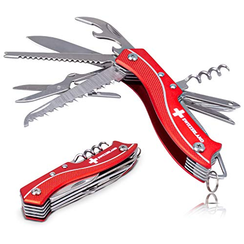 TopSpirit® Taschenmesser - Sackmesser mit 9 Funktionen - 9 in 1 Multifunktionswerkzeug - Multifunktionstool 9.5 cm
