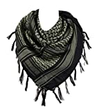 100% Cotton Military Shemagh Arab Tactical Desert Keffiyeh Scarf Wrap for Women Men 43'x43' Black Gold