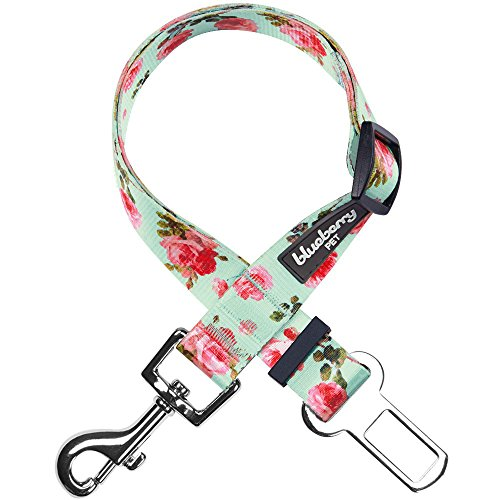 Blueberry Pet 6 Patterns Spring Scent Inspired Floral Rose Print Turquoise Adjustable Dog Seat Belt Tether for Dogs Cats, Durable Safety Car Vehicle Seatbelts Leads Use with Harness