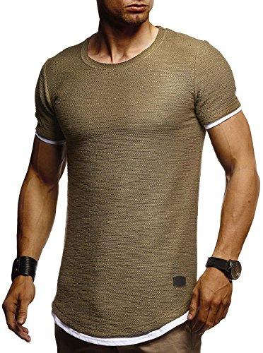 Leif Nelson Herren Sommer T-Shirt Rundhals-Ausschnitt Slim Fit Baumwolle-Anteil Moderner Männer T-Shirt Crew Neck Hoodie-Sweatshirt Kurzarm lang LN8223 Khaki Medium