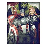 Kimily Diy Paint by Numbers for Adults Kids Avengers Paint by Numbers Diy Painting Hulk Captain America Iron Man Acrylic Paint by Numbers Painting Kit Home Wall Living Room Bedroom Decoration Avengers