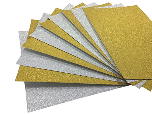 levylisa 10 Sheets 8' x 12' Soft Touch Glitter Card 250gms Premium Card Sparkling Assorted Mixed Colors Craft Glitter Cardstock Cardmaker DIY Gift Box Wrapping (Gold+Silver)