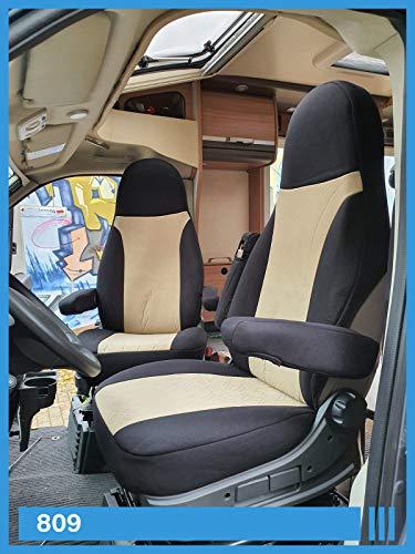 Maß Sitzbezüge kompatibel mit Wohnmobil Fahrer & Beifahrer FB:809 (schwarz & beige)