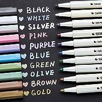Ohuhu Metallic Markers Glitter Paint Pen Fine Tip, Set Of 10 Premium Window Marker For Diy Card Making, Coloring Books...