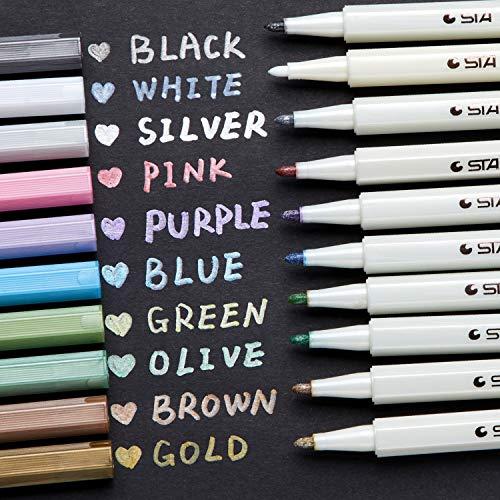 Metallic Markers Glitter Paint Pen Fine Tip, Ohuhu Set of 10 Premium Window Marker for DIY Card...