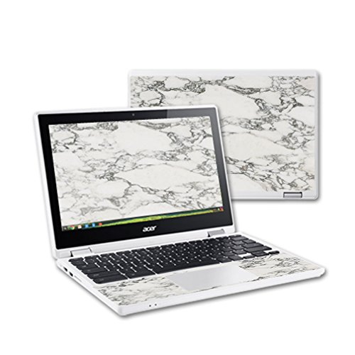 MightySkins Skin Compatible with Acer Chromebook R11 - White Marble   Protective, Durable, and Unique Vinyl Decal wrap Cover   Easy to Apply, Remove, and Change Styles   Made in The USA