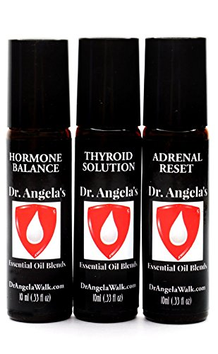 Dr. Angela Walk Hormone Balance Trio Essential Oil Set of (3) Thyroid Support, Adrenal Support, Hormone Balance Blends (hot Flashes and Support) Therapeutic Grade (3) 10 ml Roll-On Bottles