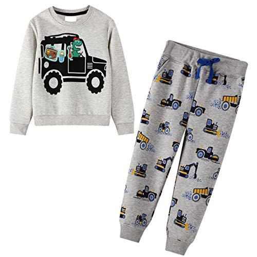 JinBei Trainingsanzug für Jungen Jogginganzug Pullover Anzug Sweatshirt & Hosen Set Baumwolle Grau Sportanzug Kranwagen Drucken Baby-Junge Kleidungssätze Alter 2-7 Jahre