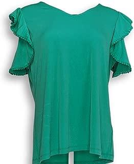 Susan Graver Women's Top Size L Liquid Knit Top Crochet Trim Green A304025