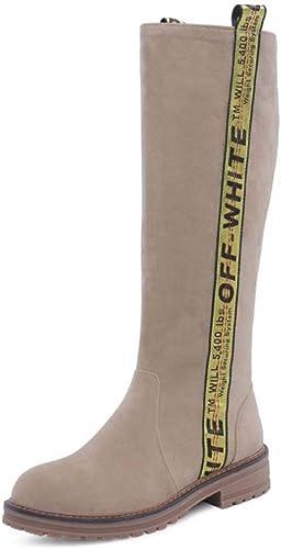 HYLFF Les Femmes Chevalier Boucle Bottes Les Les dames Flat Martin Chaussures Suede Genou Haute Boucle zippée Chaussures,Flesh,42EU
