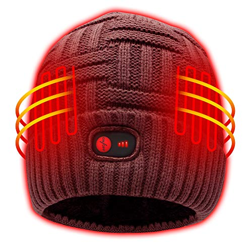 Men Women Heated Hat with Rechargeable Battery,Winter Warm Heat Insulated Fleece Skull Beanies,Sports Outdoor Climbing Hiking Hunting Heating Cap,Novelty Cycling Snow Skiing Fishing Head Warmer,3 Heat