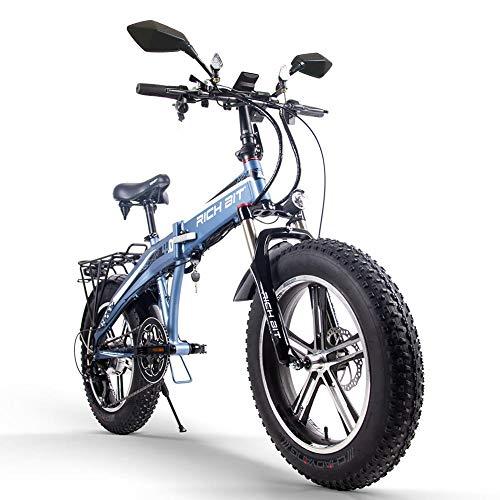RICHBIT TOP016 電動バイク 電動スクーター モペット 折り畳み式 スマートeバイク ハイブリッドサンドバイク スノーバイク 次世代SmartEV (ブルー)