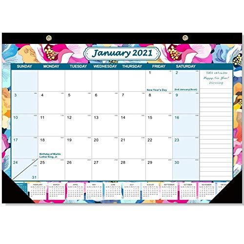 Fltaheroo Calendario de Escritorio 2021 Planificador Mensual de 12 Meses Calendario 2021 Memo de Escritorio Calendario Diario Agenda Organizador Oficina