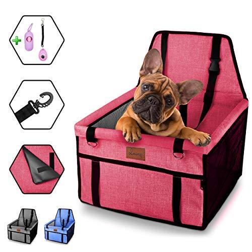 dainz® Stylischer Hunde-Auto-Sitz für kleine Hunde & Welpen bis ca. 7kg | Hunde-Auto-Korb für Beifahrersitz & Rückbank | Hunde-Tasche extra stabil | Hunde-Auto-Box zum wohlfühlen weil wir Tiere lieben