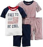Carter's Baby Boys' 4-Piece Snug Fit Cotton Pjs, Navy Stripe, 24 Months