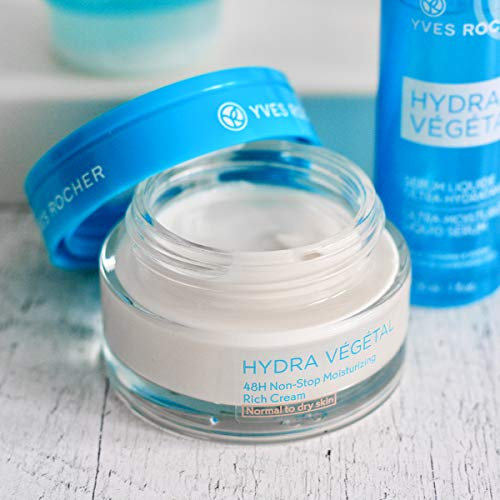 Yves Rocher Face Moisturizing Hydra Végétal 48H Non-stop Hydratation Rich Day Cream with Hydrating Cellular Water, for Normal + Dry skin, 50 ml jar