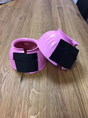 Hufglocken für Pferde Ponys | Warmblut Kaltblut Vollblut | neon pink | Gummi Springglocken S-L | Hufschutz zum Reiten Springen Gelände Weide (L (pink))