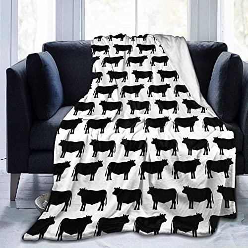 Kuscheldecke Angus Beef Bull Silhouette Decke Mikrofaser Sofaüberwurf Superweich und Flauschig Fleecedecke Warm, Gemütlich, Langlebig für Bett und Sofa
