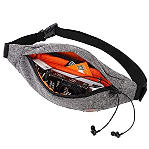 TINYAT Fanny Pack with 4-Zipper Pockets Water Resistant Waist Bag Pack for Man Women for Outdoors Workout Traveling Casual Running Hiking Cycling Dog Walking Fishing (Grey/201)