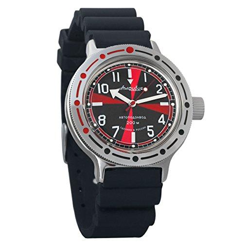 Vostok Amphibian automático Mens Reloj de pulsera Self-winding Militar buceo anfibios caso reloj de pulsera # 420650