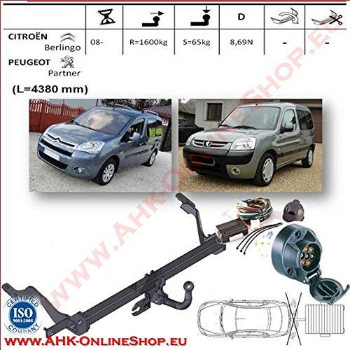 Anhängerkupplung Kinderanhänger mit Kabelbaum 7Pin | Citroen Berlingo SWB Vehicle Lenght 4380-2008| Schwanenhals zerlegbar mit Werkzeug