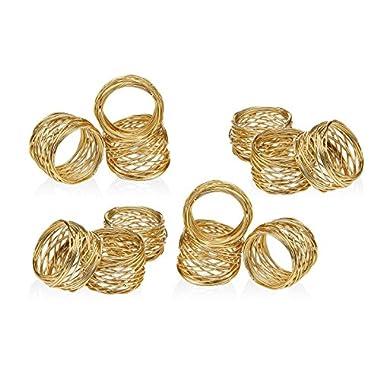 Set of 12 Gold Round Mesh Napkin Rings