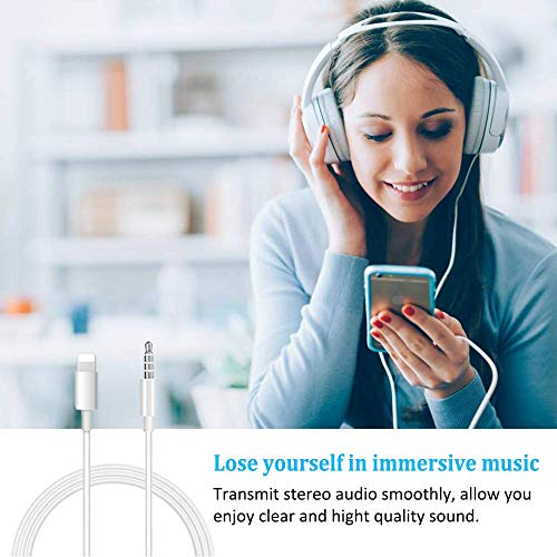 Aux Cable Cord Compatible with Phone 7/7Plus/8/8Plus/X/XR/11 in Car, 3.5mm Male Stereo Audio Cable Adapter Compatible with Home/Car Stereo,Speakers,Headphones,White,1M