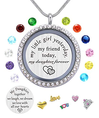 Best Gifts for Daughter from Mom Dad, Living Memory Floating Locket Pendant Necklace with Charms & Birthstones for Mother Mama Mammy Daddy