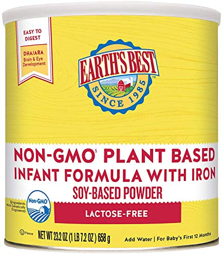 Earth's Best Non-GMO Soy Plant Based Infant Powder Formula with Iron, Omega-3 DHA & 6 ARA, 23.2 oz.