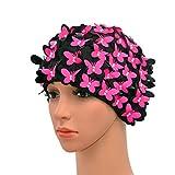 Medifier Gorro de natación vintage con diseño de pétalos florales para mujer, color rojo rosa