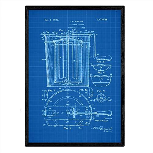 Poster met patent Nacnic ijs vriezer. Blad met oud ontwerp patent A3-formaat met blauwe achtergrond