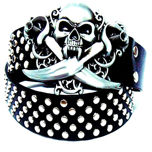 Punk Style BeltBelt Punk Rock Belt Skull Bowknot Full Rivets Belts Hip Hop Heavy Metal Rock BeltsVintage Leather Belts (Size:115CM; Color:M)