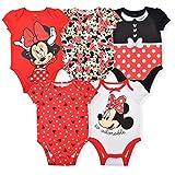 Disney Minnie Mouse Girl's 5-Piece Short Sleeve Baby Bodysuit Onesie Set, Red/White/Black, Size 24 Months