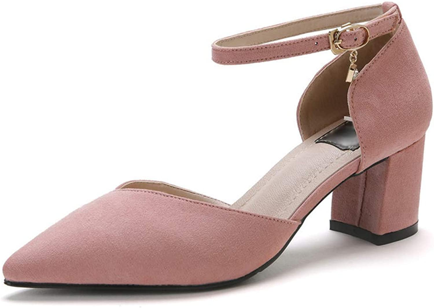 Phil Betty Women's Pumps,Spring Chunky Heel Suede Casual Stylish Pink Grey Shallow Mouth shoes