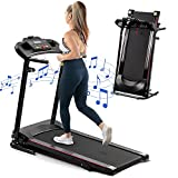 LIVSPO Folding Treadmill with Incline 2.5HP 12KM/H Electric Treadmill for Home Foldable, Bluetooth Music Cup Holder Heart Rate Sensor Walking Running Machine for Indoor Home Gym Exercise Fitness