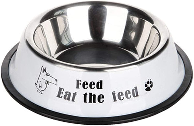 FFLSDR Stainless Steel Dog Bowl Dog Pot Dog Rice Bowl Water Basin Dog Food Bowl (bluee White) (color   White, Size   XXL)