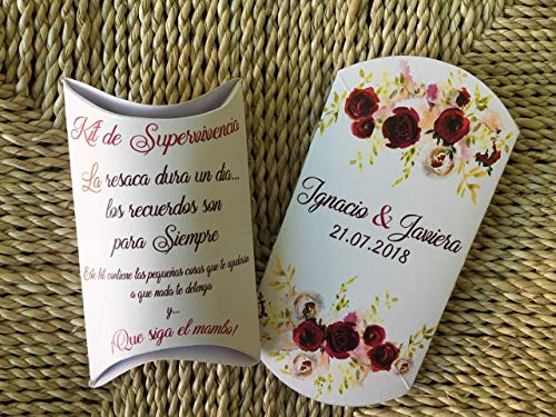 Cajita para Kits de Supervivencia. Kits de Resaca post boda
