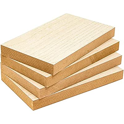 Bright Creations Unfinished Wood Blocks for Crafts, 1 Inch Thick (6 x 10 Inches, 4 Pack)