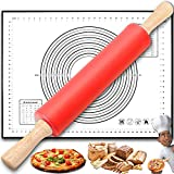 Rolling Pin with Silicone Baking Mat, Rolling Pins for Baking, Cookie & Pastry Dough Fondant Rolling pin, Silicone Roller Pin Smooth Surface, Ergonomic Design.(Red)