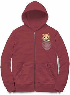 Fox Republic 子猫 こねこ リボン ポケット バーガンディー キッズ パーカー シッパー スウェット トレーナー 150cm