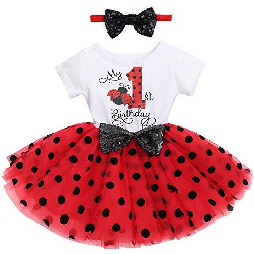 FYMNSI Vestido de fiesta cumpleaños para bebé con tutú manga corta y princesa, lazo lentejuelas, cinta la frente, sesiones fotos, juego ropa Diseño mariquita, color rojo 12 meses