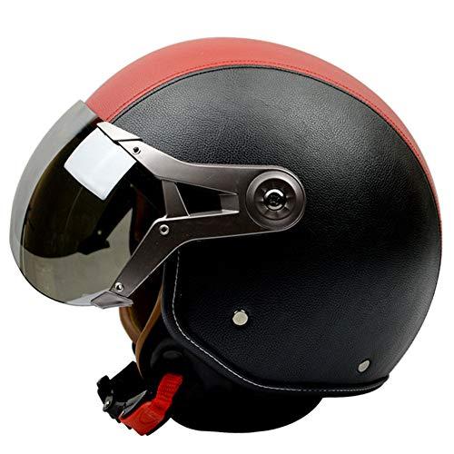 YHDQ Casco de Moto, Verano, Hombre y Mujer, Medio Casco, Retro, Fuerza aérea, Media Cubierta, portátil, Cuatro Estaciones Universal (Cuero Negro Rojo)-L