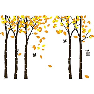 Amaonm 104″x71″ Giant Large Jungle 5 Brown Trees Wall Decals Yellow Leaves and Fly Birds Wallpaper Wall Decor DIY Vinyl Wall Stickers for Kids Bedroom Living Room Nursery Rooms Offices Walls (Yellow)