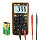 Digital Multimeter Voltmeter Ammeter Ohmmeter AC/DC Voltage Current Resistance Diodes Car Battery Continuity Circuit Tester LCD Backlight with Test Leads 9V Battery
