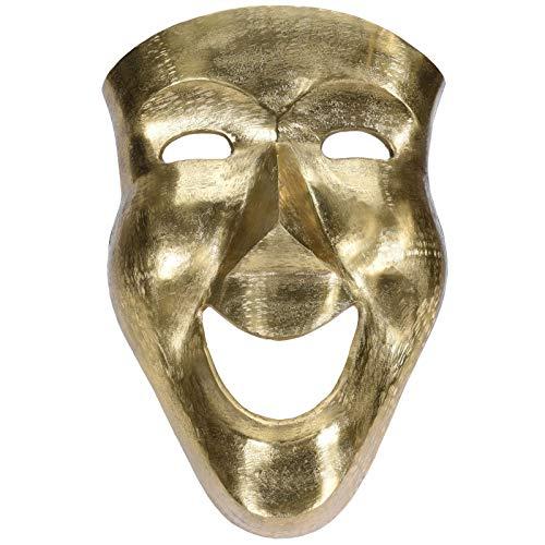 Wanddecoratie masker 46 cm aluminium zilver of goud wanddecoratie carnavalmasker
