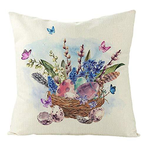 KnBoB Funda Cojin 50 x 50 cm Lino Huevos de Nido de Pájaro con Flores Azul Púrpura Marrón Estilo 4
