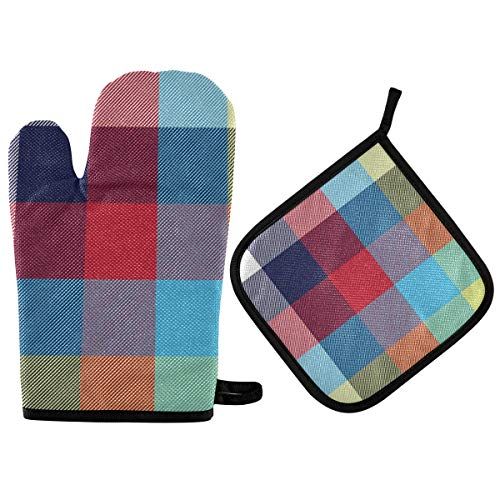 BOOBERT Oven Mitts and Pot Holder Oven Gloves Red Yellow Blue Lattice Non-Slip Hot Pads Insulation Gloves Heat Resistant Kitchen Set for Cooking Baking Grilling BBQ